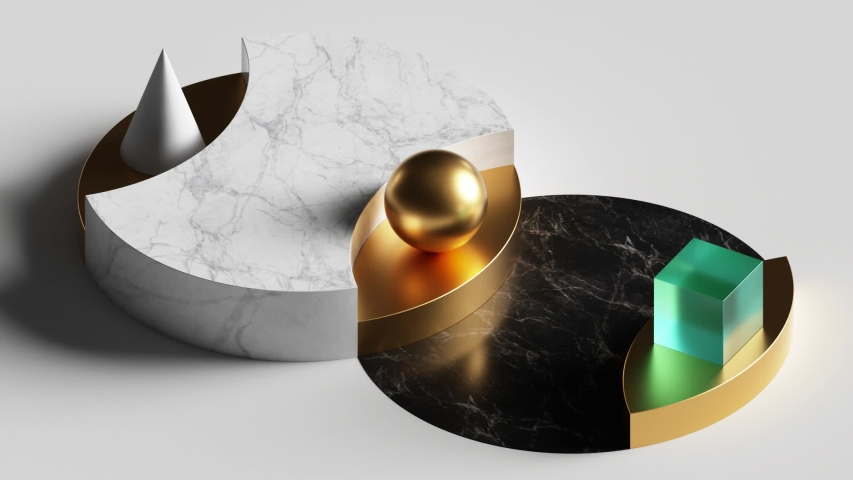 cyclic loop animation of simple geometric shapes, 3d cycled rotating marble podium, blank pedestal. Computer generated seamless motion design. Repeating movement. Live image, modern animated poster. Royalty-Free Stock Footage #1037985758