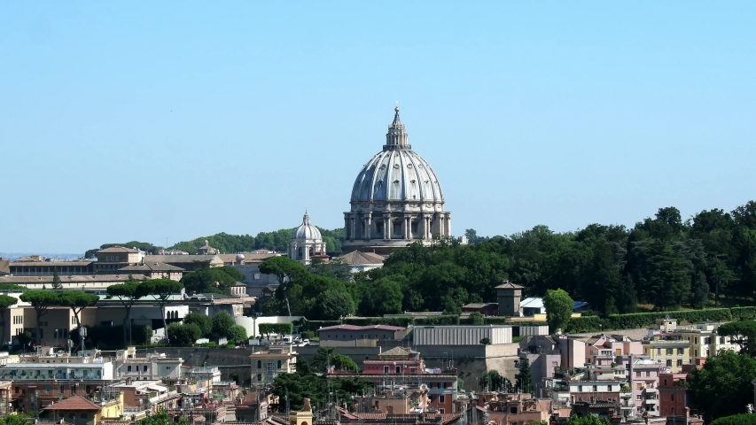 Dome of St. Peter, Vatican City, Rome. Clear sky, july 2019 | Shutterstock HD Video #1038008204