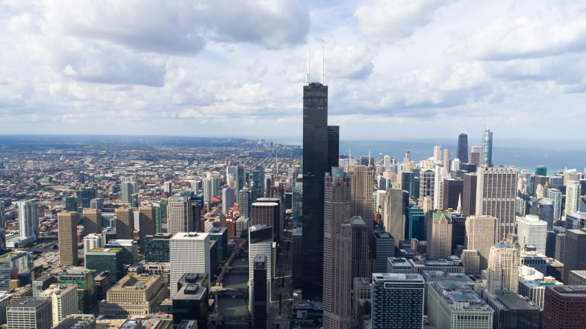 Chicago, IL / USA - September 28 2019 - Chicago Cityscape from Above