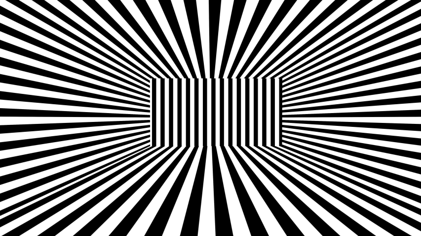 Abstract 3D background with black and white stripes. Seamless loop