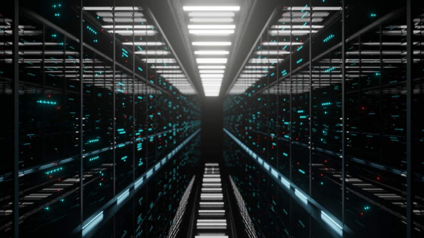 Data center with endless servers. Network and information servers behind glass panels. Server room with twinkling lights. 4K high quality loop animation Royalty-Free Stock Footage #1038044672