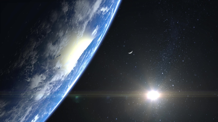 Earth and moon. View from space. Stars twinkle. Flight over the Earth. 4K. Sunrise. The earth slowly rotates. Realistic atmosphere. 3D Volumetric clouds. The sun is in the frame. | Shutterstock HD Video #1038046112