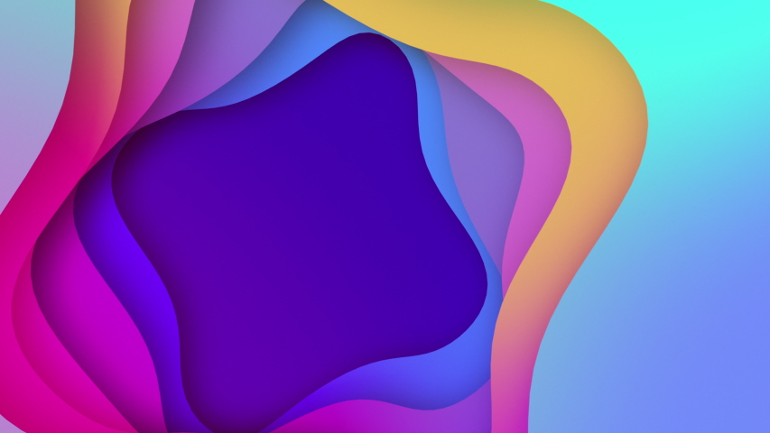 Modern Design of Paper 3d layout animation seamless loop, Designed Colorful Animated Shot. Multi gradient color waves. Paper Art Colourful Gradients 3D animation in 4K | Shutterstock HD Video #1038050606