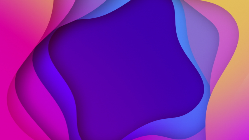 Plastic colorful shapes. Abstract  background 3D animation seamless loop. 3D abstract background with colorful paper cut waves. Modern design layout best for presentations