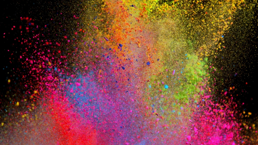 Super Slow Motion Shot of Color Powder Explosion Isolated on Black Background at 1000fps. #1038053117