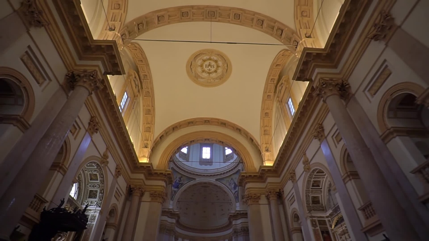 Milan Italy September 29, 2019: Inside the San Fedele Catholic Church in the city center. Historic landmarks of a place in Milan. Places to worship God. Medieval architecture in Europe | Shutterstock HD Video #1038054926