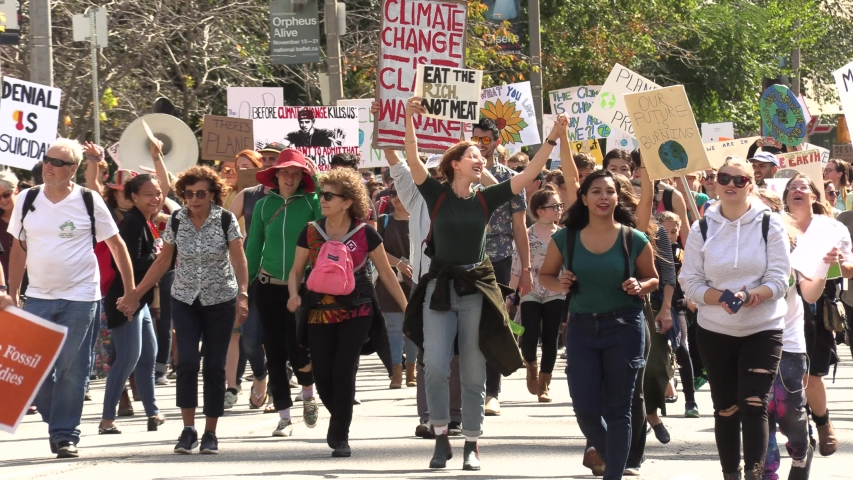 Toronto, Ontario, Canada September 2019 Epic crowds of young people and student protest climate change in downtown streets of Toronto