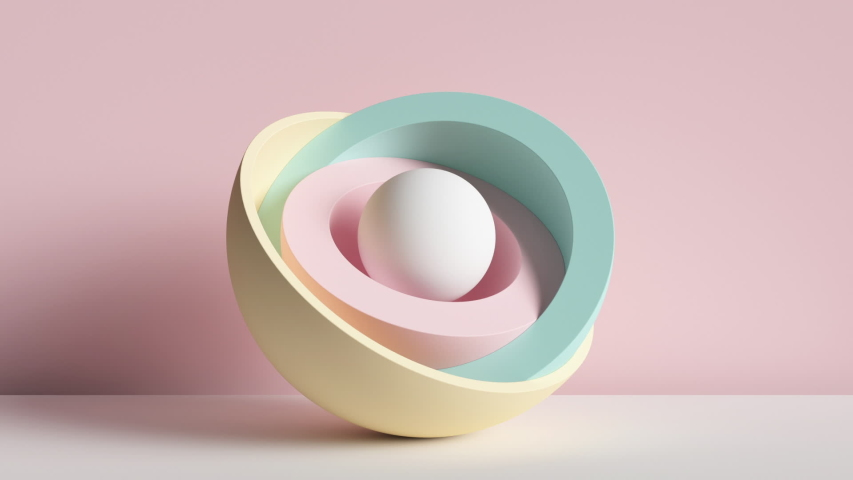 3d minimal motion design, ball hidden inside colorful hemispheres, layers opening. Simple geometric objects, primitive shapes isolated on pink background. Live image, modern animated poster.