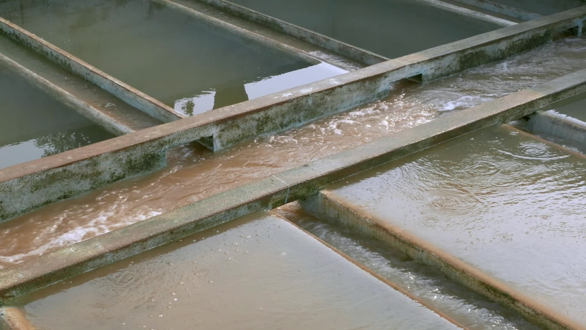 Waste water at sewage treatment plant.