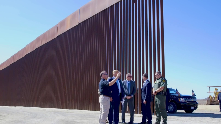 CIRCA 2019 - highlights of U.S. president Donald Trump touring the border wall with border patrol agents.