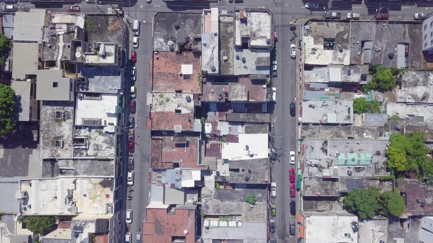 SANTO DOMINGO, DOMINICAN REPUBLIC - CIRCA 2019 - Aerial looking straight down on old buildings in the capital of Dominican Republic, Santo Domingo. | Shutterstock HD Video #1038097781
