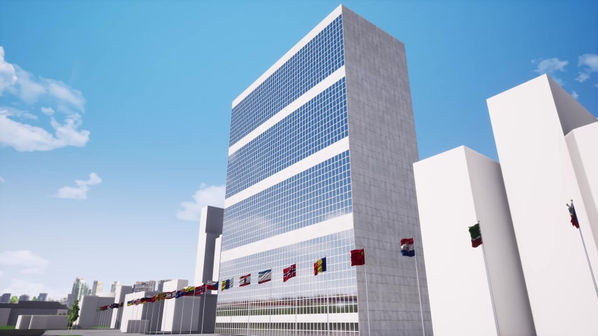 United nations headquarters building footage. General assembly office and member countries flags swaying in wind animation. New York City landmark. UN building facade realistic video