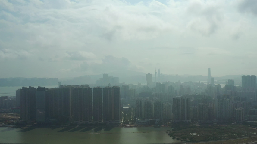 Sunny day fog macau city downtown bay aerial panorama 4k china | Shutterstock HD Video #1038101504