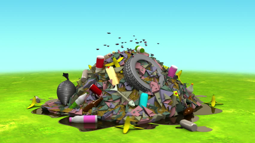 Landfill on the Lawn. 3D animation in cartoon style, loopable. | Shutterstock HD Video #10381019