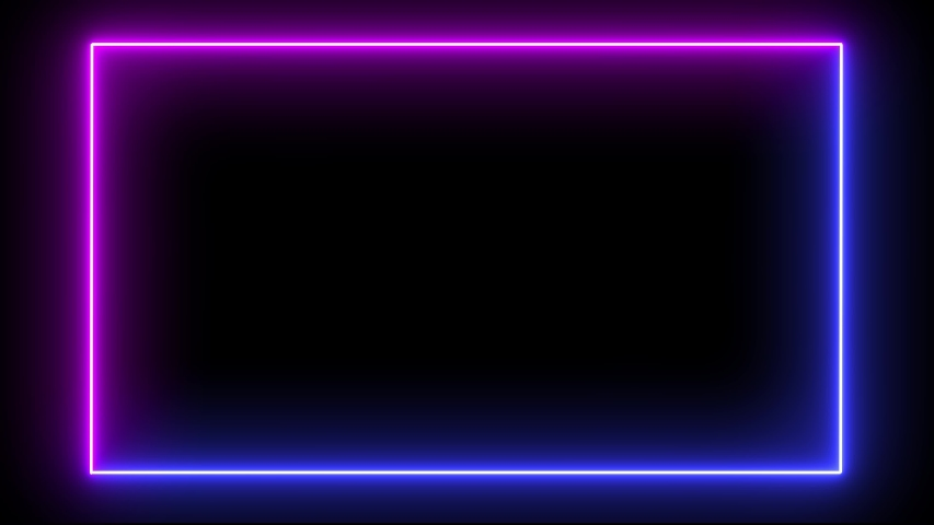 Rectangular frame with moving line. Glowing neon frame animation with purple and blue colors on black background. Fluorescent ultraviolet light. #1038111578