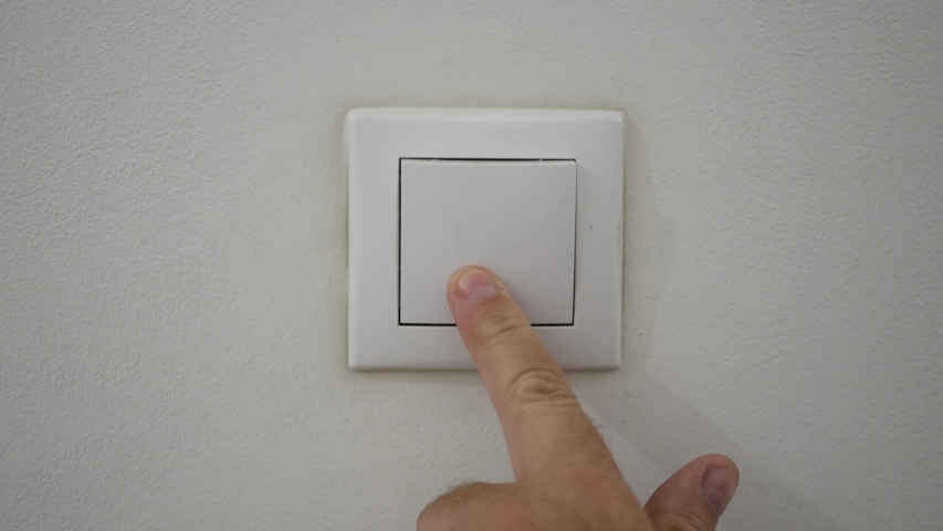 Man Hand Open Light Pushing the Button from Office Wall | Shutterstock HD Video #1038118898