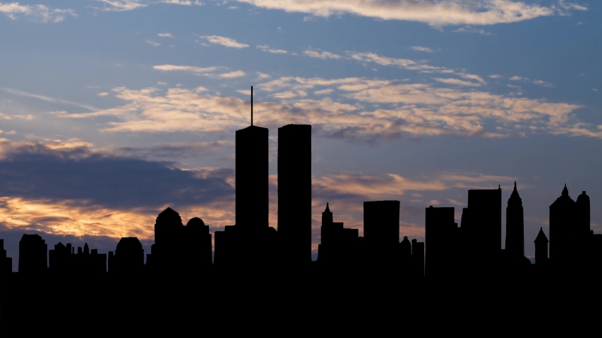 New York City, September 2000: Original World Trade Center with Twin Towers, destroyed in 2001 during the September 11 2001 attacks, Time Lapse at Sunrise, Manhattan, USA