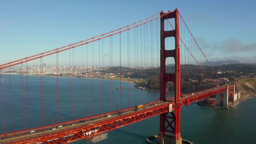 Aerial view of the Golden Gate bridge in San Francisco at dawn. USA, California.