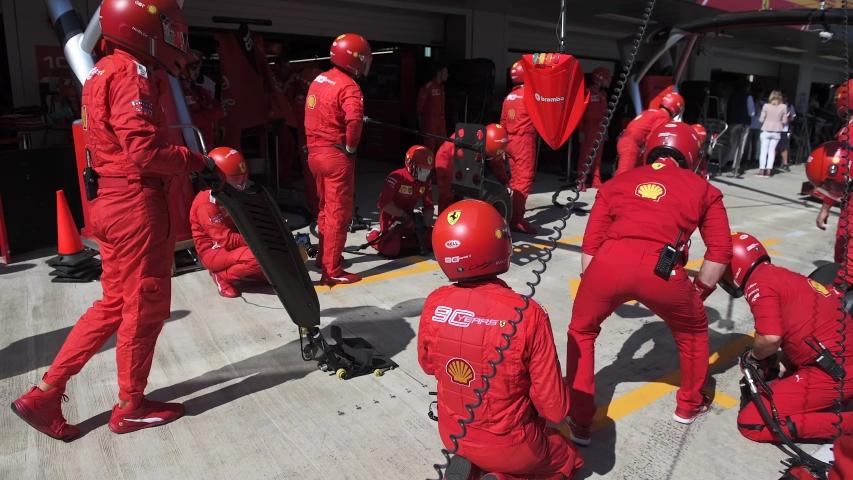 SOCHI, RUSSIA - 28 September 2019: Scuderia Ferrari Pit Stop Training at Formula 1 Grand Prix of Russia 2019