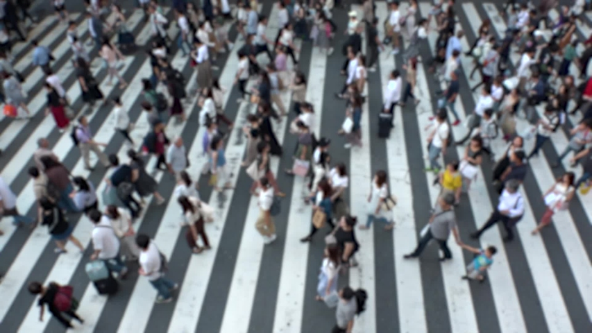 UMEDA, OSAKA, JAPAN - CIRCA SEPTEMBER 2019 : Aerial blurred view of zebra crossing near Osaka train station. Crowd of people at the street. Shot in busy rush hour. Slow motion. #1038152066