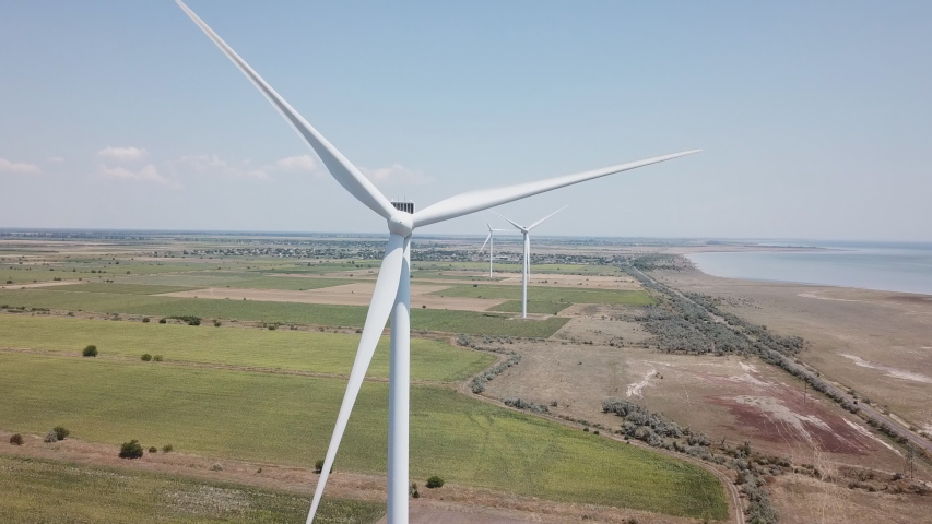 Close up aerial view of a wind turbine | Shutterstock HD Video #1038165809
