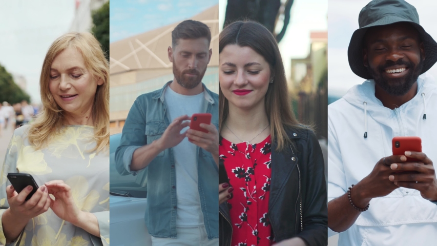Nomophobia - People using the mobile phone. No-mobile-phone phobia. Multiscreen on people using smartphone in everyday life. Commuters being on their mobile phones walking. Royalty-Free Stock Footage #1038169277