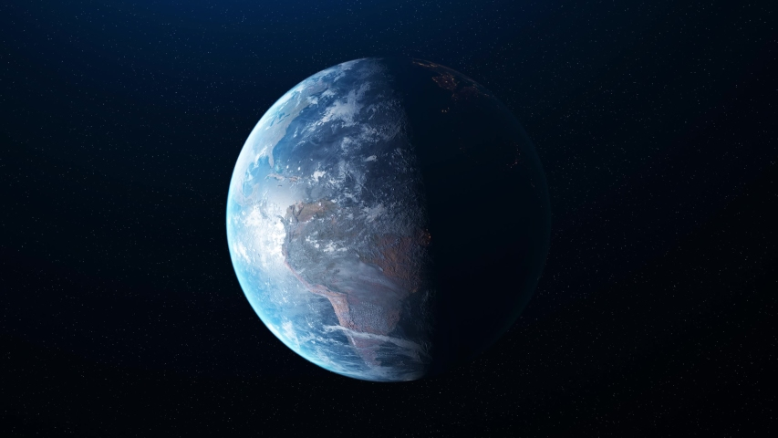Abstract beautiful sunrise world skyline, planet Earth from space. Animation. Rotating planet Earth under the bright Sun in outer space, astronomy concept. | Shutterstock HD Video #1038197579