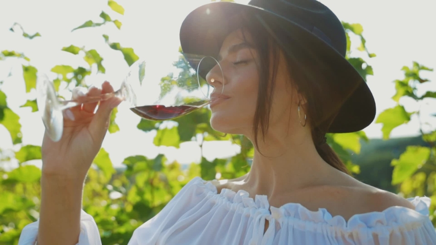 Portrait of beautiful dreaming young woman tasting red wine enjoying summer stay in vineyards on lovely sunny day. Female sommelier on wine degustation. | Shutterstock HD Video #1038199133