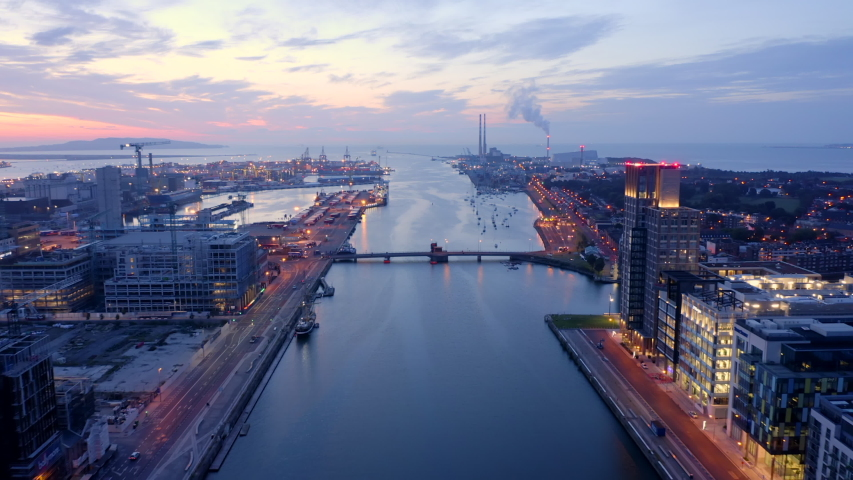 Aerial view of Dublin Bay at sunrise. 4K. | Shutterstock HD Video #1038216512