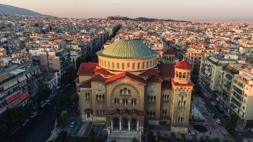 Establishing Aerial View of Athens, Parthenon, Acropolis, Greece