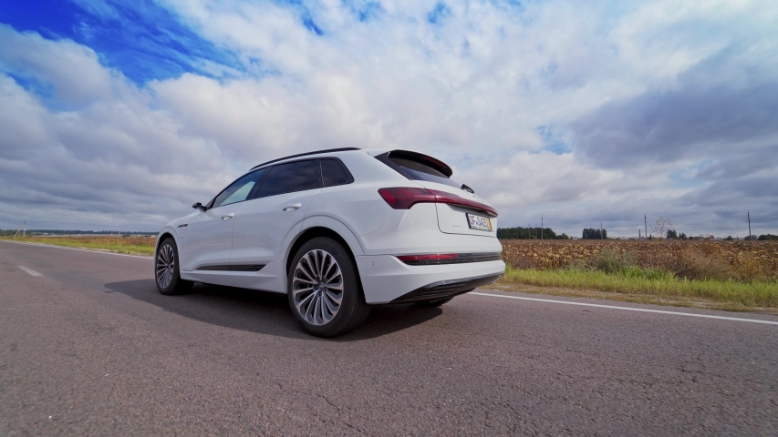 VINNITSA, UKRAINE - September 2019: Audi E-Tron is a fully-electric compact luxury crossover SUV produced by Audi.