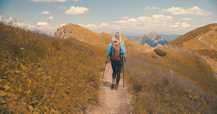 Woman backpacker tourist traveler camper walking on the top of mountain in summer sunny day under sun light. Beautiful mountains landscape view. 4K slow motion video  | Shutterstock HD Video #1038243977