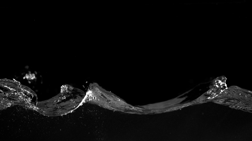 Super slow motion of splashing water isolated on black background. Filmed on very high speed camera, 1000 fps.   Shutterstock HD Video #1038258017