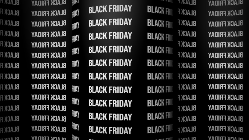 Black friday surround background. Animated 3d banner ad. Looping animated wallpaper on a black background with repeating words black friday | Shutterstock HD Video #1038258536