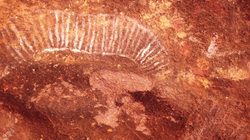 Uluru, Northern Territory, Australia - Aug 23, 2019: Aboriginal art along Kuniya walk, a popular walk at base of Ayers Rock, Uluru-Kata Tjuta NP. Red Centre outback.