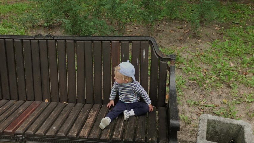 Little boy crawls on a bench in the park. #1038261554