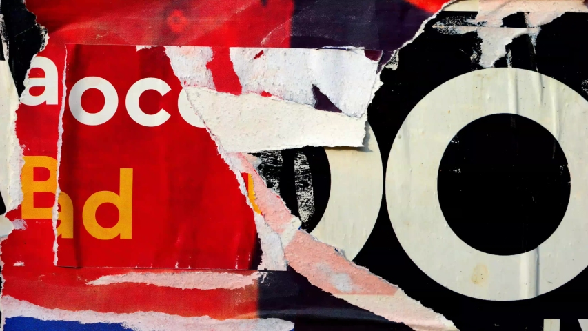 Old colorful posters ripped torn crumpled paper abstract grunge texture wall backdrop placard surface / Seamless loop collage urban street posters slideshow background Royalty-Free Stock Footage #1038264401