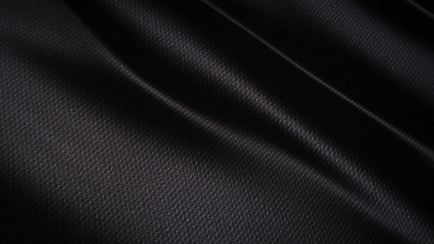 Wave Black satin fabric Background . 3D digital animation of a waving cloth.