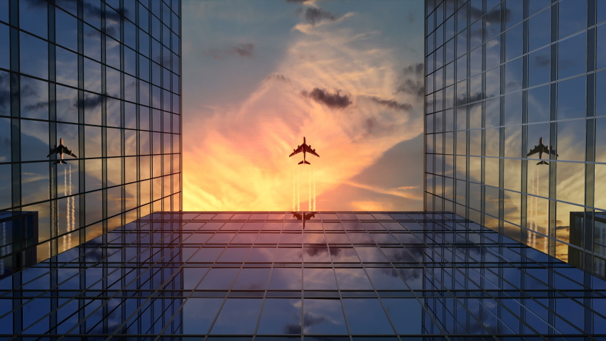 Airplane Flies Over Business Skyscrapers Against Sunset Clouds, Beautiful 3d Animation 4k, Ultra HD 3840x2160 #1038291482