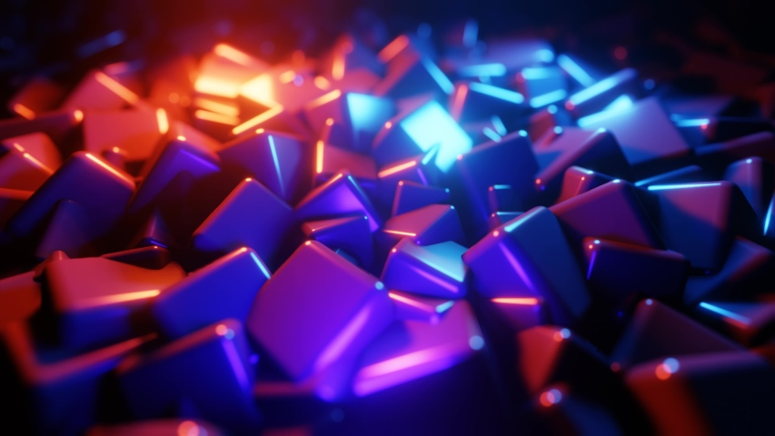 Abstract 3d rendering of geometric cubes shapes. Modern background. Colorful wave gradient animation. Geometric patterns motion background. Seamless Loop 4K animation