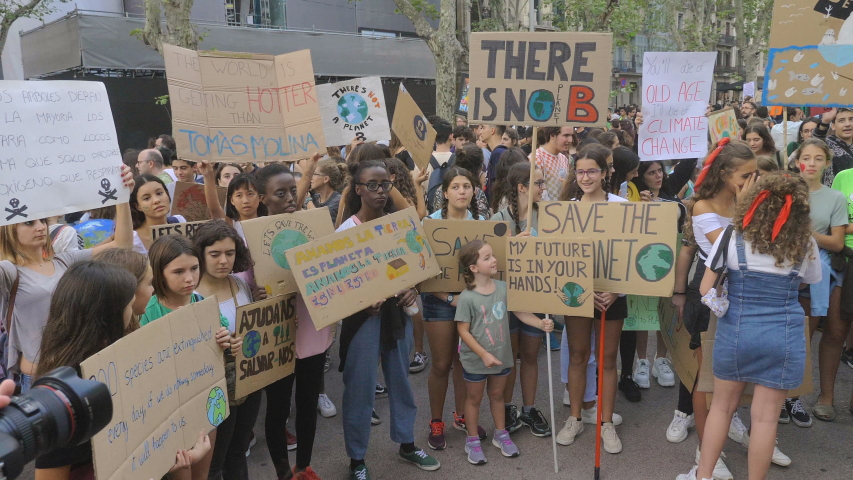 Barcelona, Spain, 27 September 2019:Climate Strike Fridays For Future. #1038307562