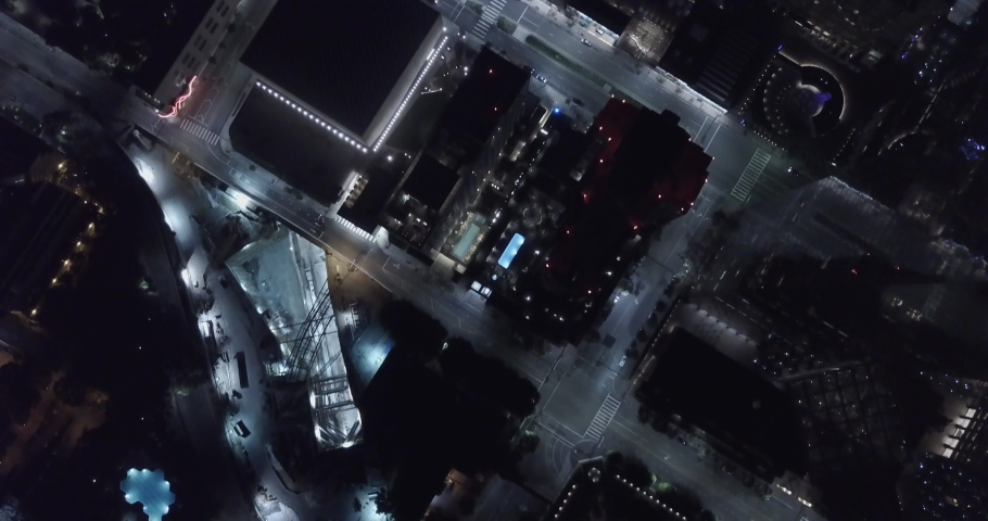 Cinematic Aerial Birds-Eye View of City Streets at Night - Grand Ave, Los Angeles - 4K