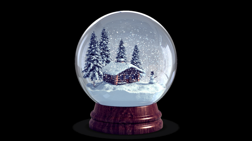 4k Christmas Snow Globe + Chroma Key + Alpha Channel