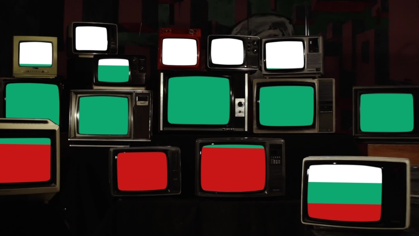 Flag of Bulgaria on Retro TVs. Zoom In. | Shutterstock HD Video #1038366086