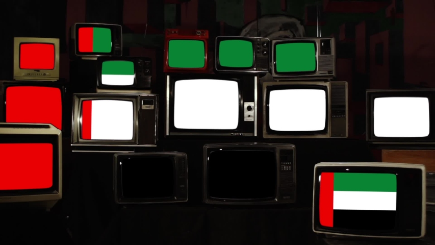 The flag of the United Arab Emirates on Retro TV Screens. Zoom In. | Shutterstock HD Video #1038366572