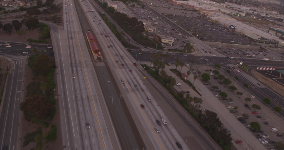 Aerial shot, day, fast follow over traffic on la highway, drone | Shutterstock HD Video #1038381602