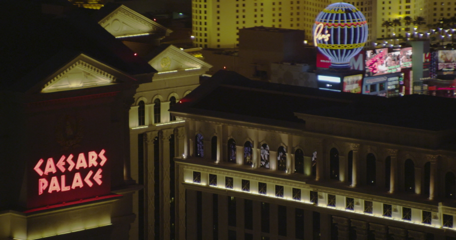 Helicopter aerial of Ceasar's Palace and The Cosmopolitan in Las Vegas, drone