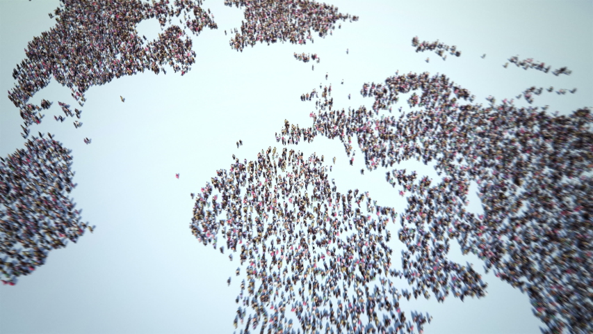 Zoom to World of People. Thousands of People Formed the World Map. Crowd Flight Over. Camera Zoom In. 4k.   Shutterstock HD Video #1038396680
