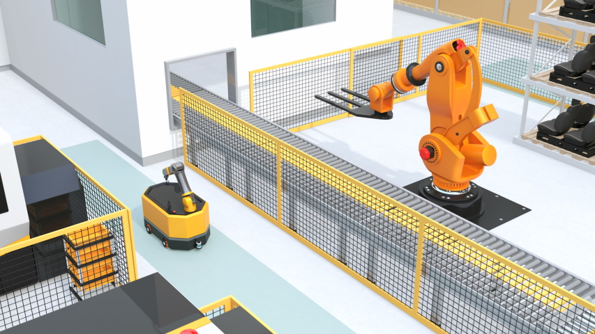 Mobile robot, heavy payload robot cell, forklift and CNC machines in smart factory. 3D rendering animation. | Shutterstock HD Video #1038405725