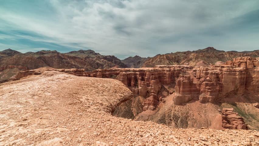 Almaty, Kazakhstan - 15 may 2015: Charyn grand canyon at blue sky in Kazakhstan. 4K TimeLapse. | Shutterstock HD Video #10384136